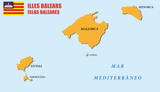 Connection between the Balearic Islands of Mallorca and Ibiza